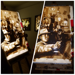 Original, fictional images made from packing tape